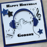 Handmade Godson 3D Music Headphones Birthday Card