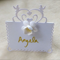 Beautiful Handmade Hearts and Doves Place Cards (Pack of 10)