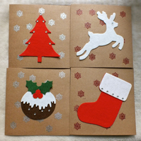 Handmade Pack of 4 Christmas Pudding, Leaping Reindeer, Stocking and Tree Cards