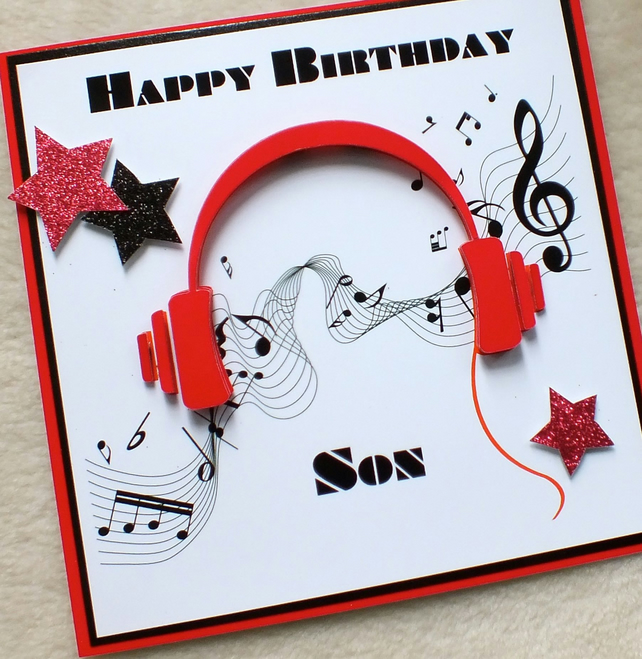 Handmade Son 3D Music Headphones Birthday Card