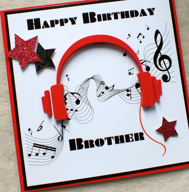 Handmade Brother 3D Music Headphones Birthday Card