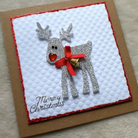 Luxury Handmade Christmas Reindeer Card