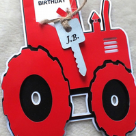 Personalised Handmade Tractor Shaped Birthday Card