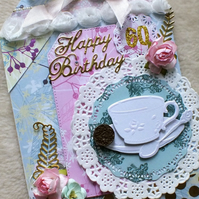 Handmade 60th Birthday Shabby Chic, Cup and Saucer Card
