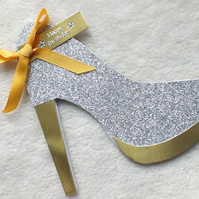 Glitzy Handmade High Heel Shoe Birthday Card