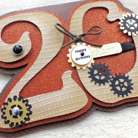 Luxury Handmade Personalised 20th Birthday Number Shaped Card