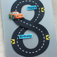 Special Personalised Handmade 8th Birthday Racing Car Track Card