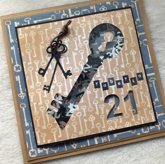 Personalised Luxury Handmade 21st Birthday Key Shaker Card
