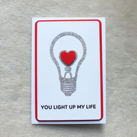 Handmade 'You Light Up My Life' Valentine's Day Card