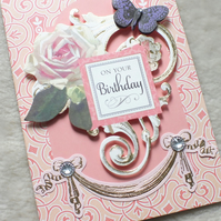 Luxury Handmade Vintage Birthday Card