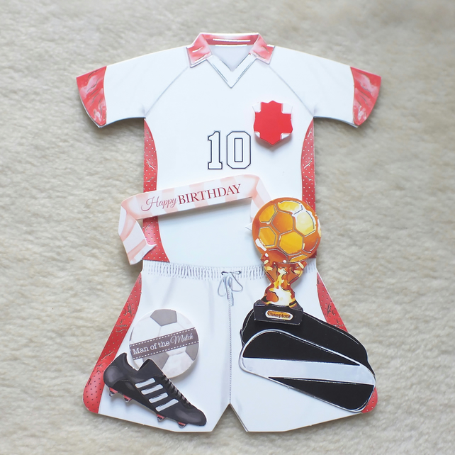 Handmade England Football Kit Shaped Birthday Card