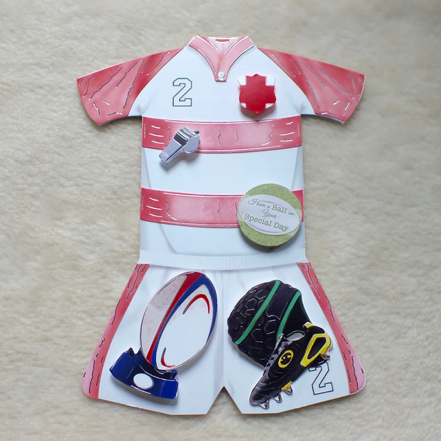 Handmade England Rugby Kit Shaped Birthday or Special Day Card