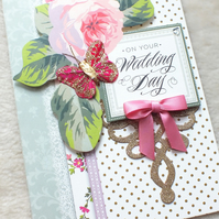 Luxury Handmade Vintage Wedding Card