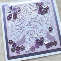 Elegant Handmade Happy Birthday Card
