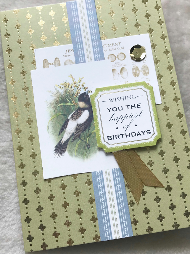 Luxury Handmade 3D Vintage Bird Birthday Card