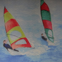 Windsurfers Art Greetings Card