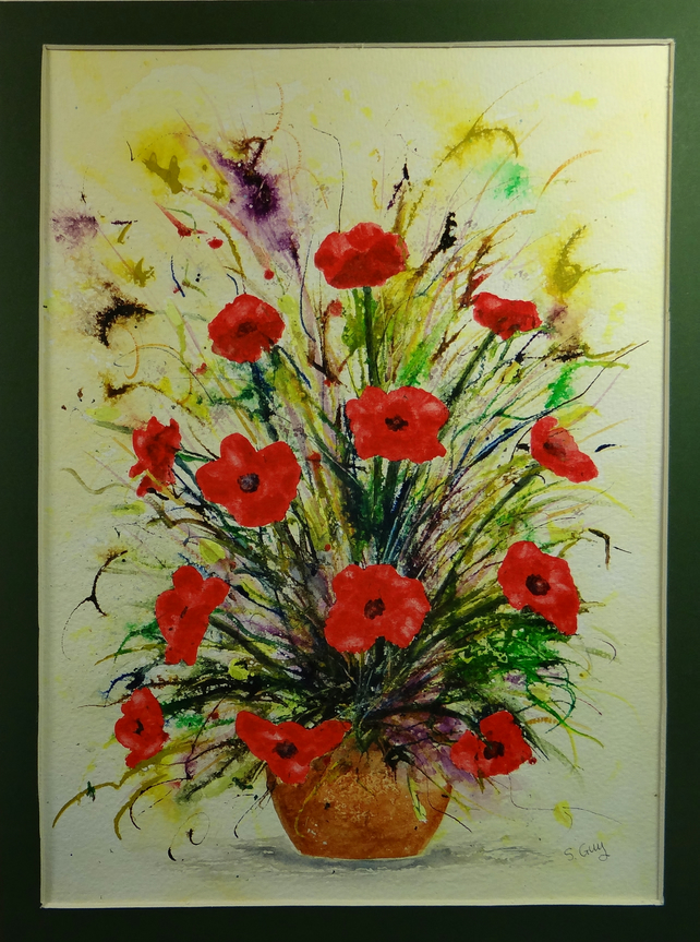 Acrylic Ink And Watercolour Poppies Original W Folksy