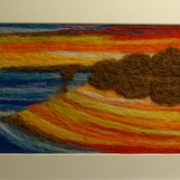 Felt sunset beach art painting with FREE UK delivery