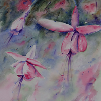 Fuchsia flower painting