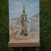 Watercolour ACEO Ormskirk Clock Tower ORIGINAL