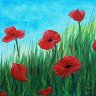 Poppies ORIGINAL painting flowers SALE 33% OFF