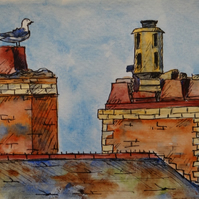 Seagull Chimney Pot Watercolour Painting ORIGINAL