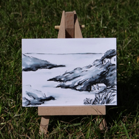 Miniature Sea Cliffs Cottages sketch ACEO Original