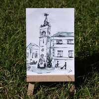 Miniature Ormskirk Clock Tower sketch ACEO Original