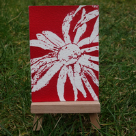 Red Flower ACEO ORIGINAL
