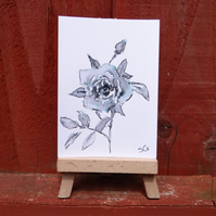 Miniature Rose Flowers sketch ACEO Original