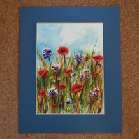 Poppies and corn flowers painting ORIGINAL with FREE UK delivery