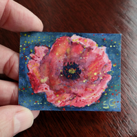Dolls House Painting Poppy Flower 1:12 scale