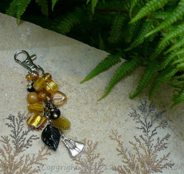 Gold and Black Handbag Charm Unique Handmade KCJ217