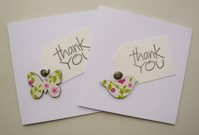 Sea Shell Embellished Bird and Butterfly Thank You Cards    Pack of 4
