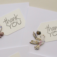 Sea Shell Embellished Bird and Heart Thank You Cards       Pack of 4
