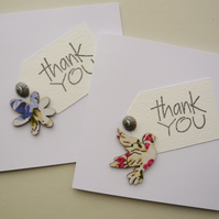 Sea Shell Embellished Bird and Flower Thank You Cards     Pack of 4