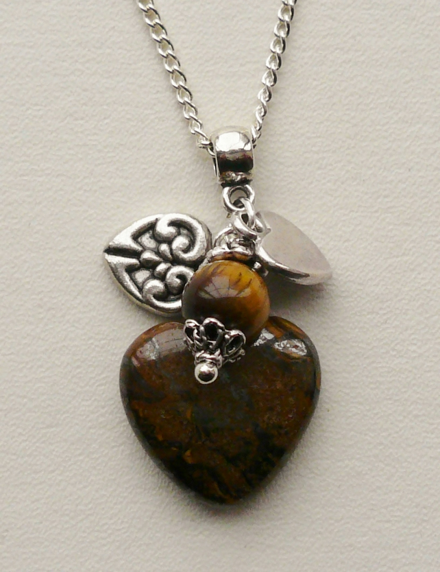 Tiger Eye and Tibetan Silver Heart Cluster Necklace      KCJ473