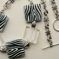 Chunky Glass Square Zebra Print  Silver  Necklace  KCJ314