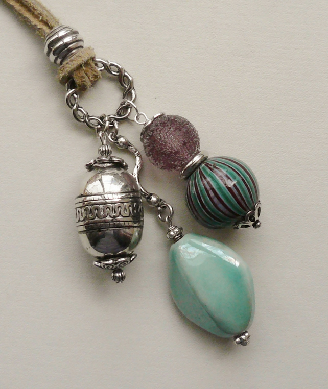 Turquoise and Purple Ceramic and Glass Silver Cluster Necklace  KCJ238