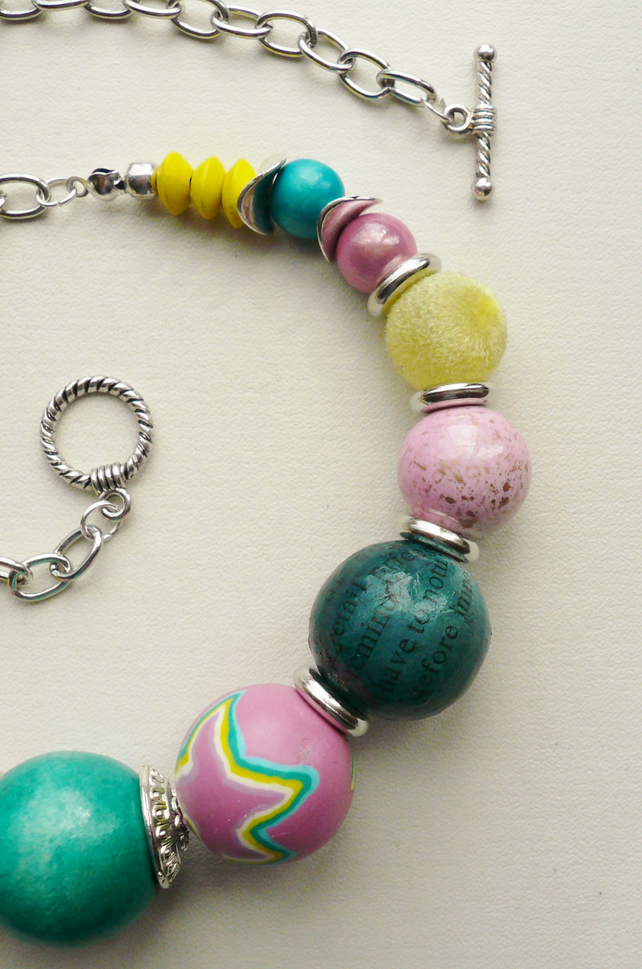 Collar Necklace Pink, Blue and Yellow Mixed Bead Silver  KCJ638