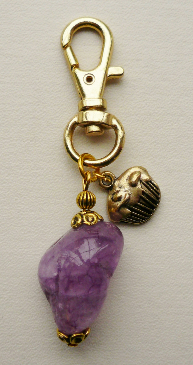 Purple Glass Crackle Nugget Gold Cupcake Key Ring   KCJKEY2