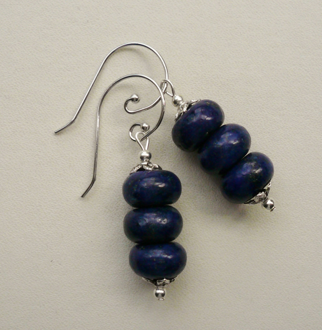 Blue Lapis Dyed Drop Earrings   KCJE662