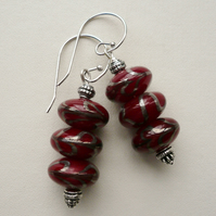 Red and Silver Swirl Drop Earrings   KCJE660
