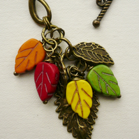 Antique Bronze Autumn Leaf Cluster Necklace   KCJ540