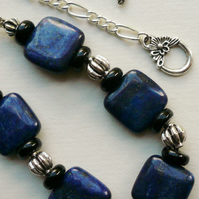 Blue Dyed Lapis Square Disc Necklace   KCJ452