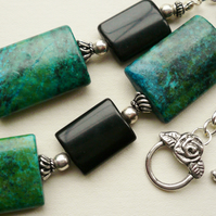 Chrysocolla and Black Agate  Flat Tube Collar Necklace   KCJ382