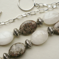 Collar Necklace Madagascar Fossil Rose Quartz Oval Bead  KCJ356