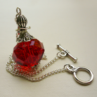 Red Faceted Glass 'Perfume Bottle' Effect  Pendant Necklace   KCJ730