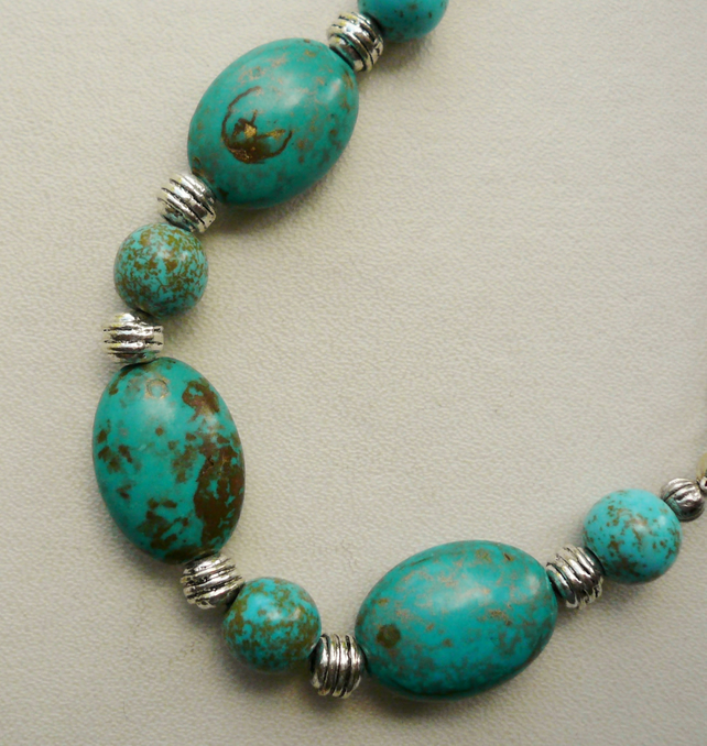 Collar Necklace Turquoise Magnesite and  Silver  KCJ397