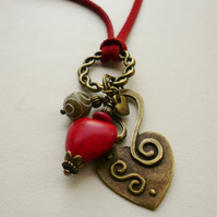 Red Howlite, Jade and Antique Bronze Heart Necklace   KCJ759